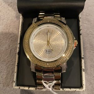 Two tone men's bling rock star watch